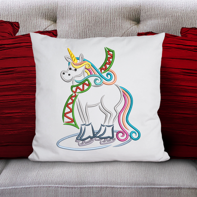 Sketchy winter unicorn skates 1 winter christmas embroidery machine design file 3 sizes included