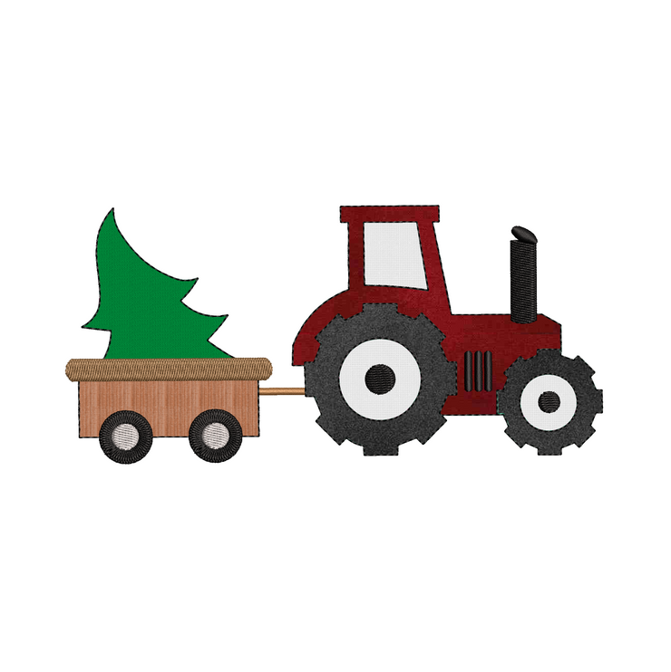 Christmas lettering  - farmhouse christmas - christmas tractor applique raw edge 6 sizes