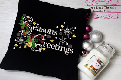 Seasons greetings word art embroidery machine design file 2 sizes included
