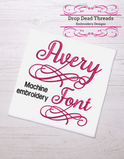 Avery Script machine embroidery font design file four sizes includes BX and additional characters