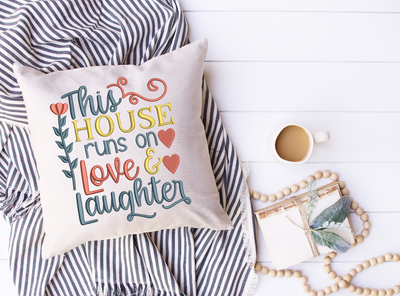 Home lettering - this house runs on love & laughter 3 sizes