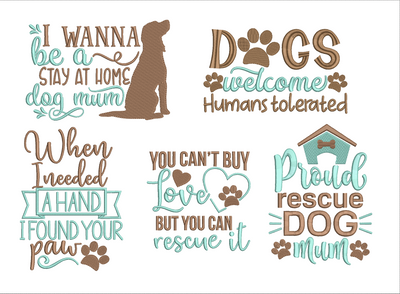 Dog Mum Rescue collection full 5 part bundle-  one design free