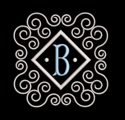 Fishtail monogram & frame letter B