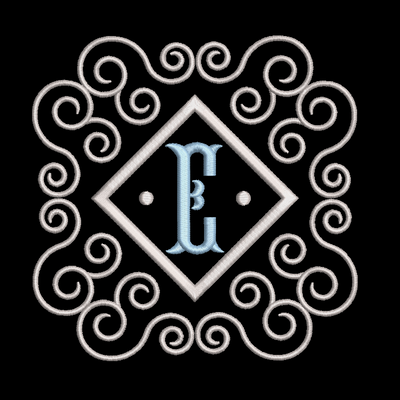 Fishtail monogram & frame letter E