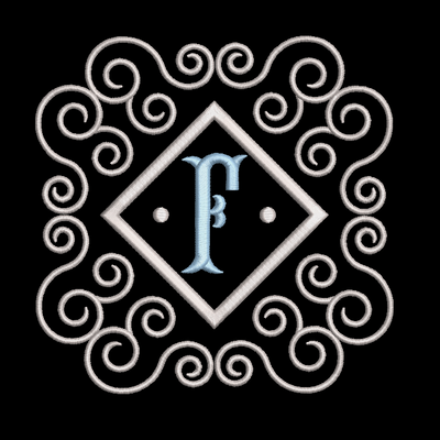 Fishtail monogram & frame letter F
