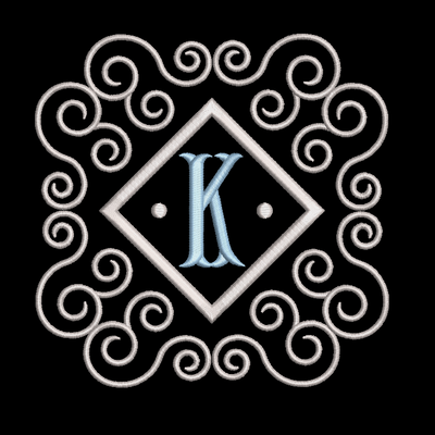 Fishtail monogram & frame letter K