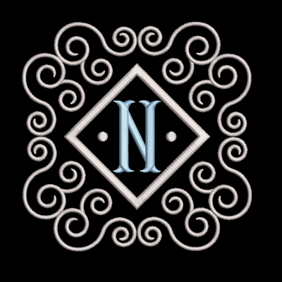 Fishtail monogram & frame letter N