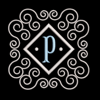 Fishtail monogram & frame letter P