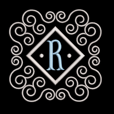 Fishtail monogram & frame letter R
