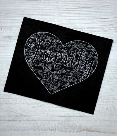 Family heart word art embroidery machine design file 6 sizes included