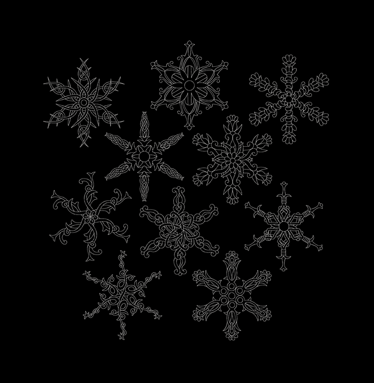 10 part design bundle Tribal snowflakes 6 sizes