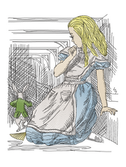 Alice in wonderland Alice & Rabbit sketch  3 sizes included in all formats