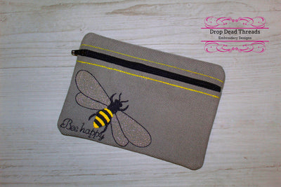 ITH Bee happy fully lined no raw edge seams zippered bag purse three sizes included in the hoop zip pouch