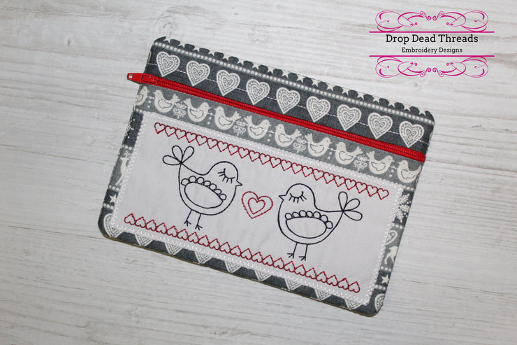 ith scandi stye bird heart fully lined no raw edge seams zippered bag purse three sizes included in the hoop zip pouch