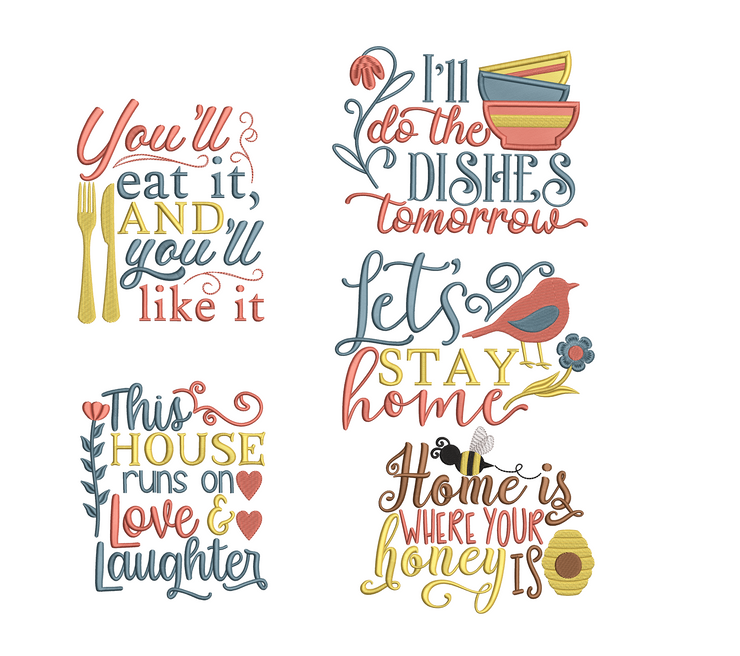 Home lettering collection full 5 part bundle -  one design free