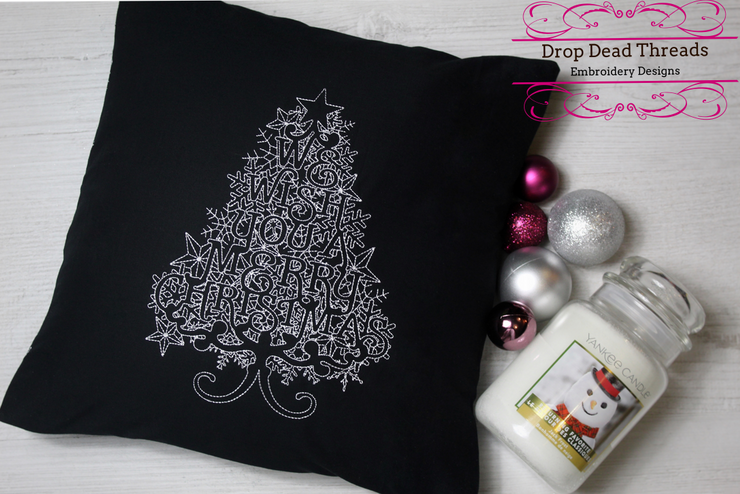 We Wish You A Merry Christmas Tree winter word art embroidery machine design file 3 sizes included