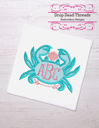 Nautical applique crab with shell detail monogram frame 4 sizes add your own monogram