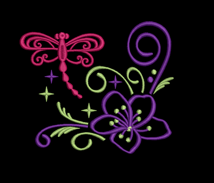 dragonfly sparkle 6 part bundle machine embroidery design 3 sizes 1