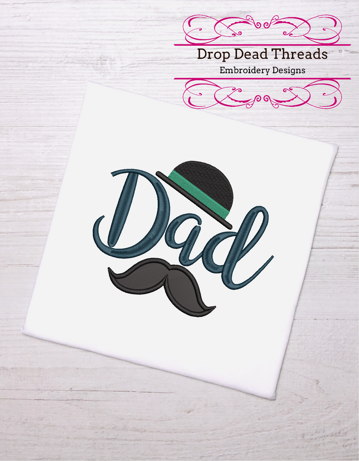 Dad fathers day hat & moustache applique 3 sizes