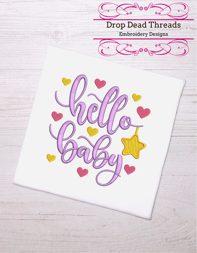 Hello baby quote for embroidery machine design file 3 sizes great for newborn onesie vest bib blanket etc instant file download all formats