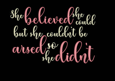 she believed she could quote reading cushion book pocket pillow embroidery machine design file image and quote 2 sizes instant download
