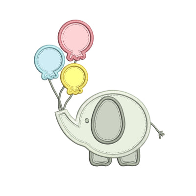 baby elephant birthday balloon applique design embroidery machine design file 3 sizes included all machine formats