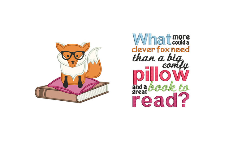 clever fox reading cushion book pocket pillow embroidery machine design file applique and quote 4 sizes included instant download