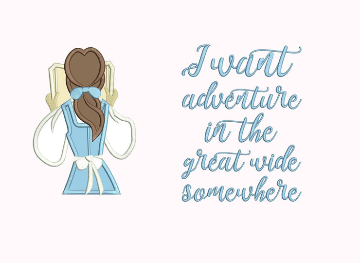 Princess reading cushion book pocket pillow embroidery machine design file image and quote 4 sizes instant download belle beauty & the beast