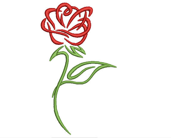 Rose Sketch embroidery machine design file download rose 2 sizes