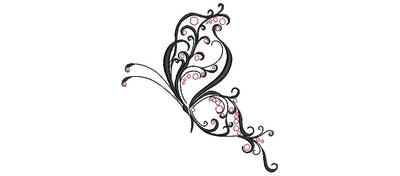 filigree butterfly embroidery machine design file 2 sizes brother pes janomes etc