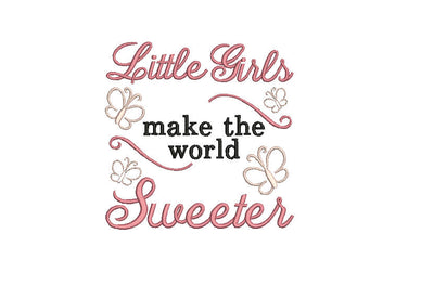 baby girl quote embroidery machine design file newborn 3 sizes