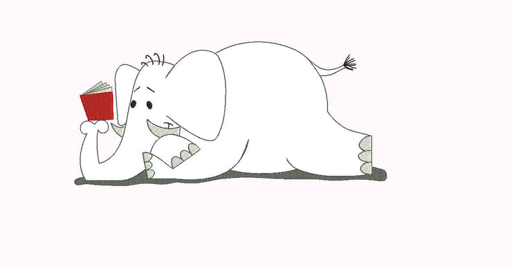 elephant reading book (outline and partial fill quick stitch) embroidery machine design file 4 sizes