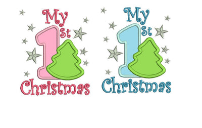 my first christmas baby applique embroidery machine design files two sizes included 1st xmas onesie vest tshirt bib design