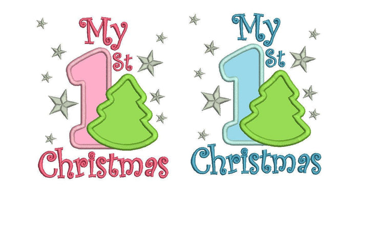 my first christmas baby applique embroidery machine design ...