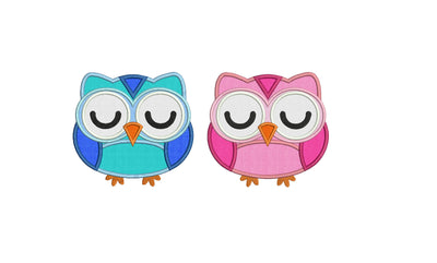 cute single owl applique machine embroidery design file includes three sizes all popular formats pes dst etc