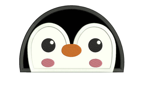 Penguin peeker applique design embroidery machine design file
