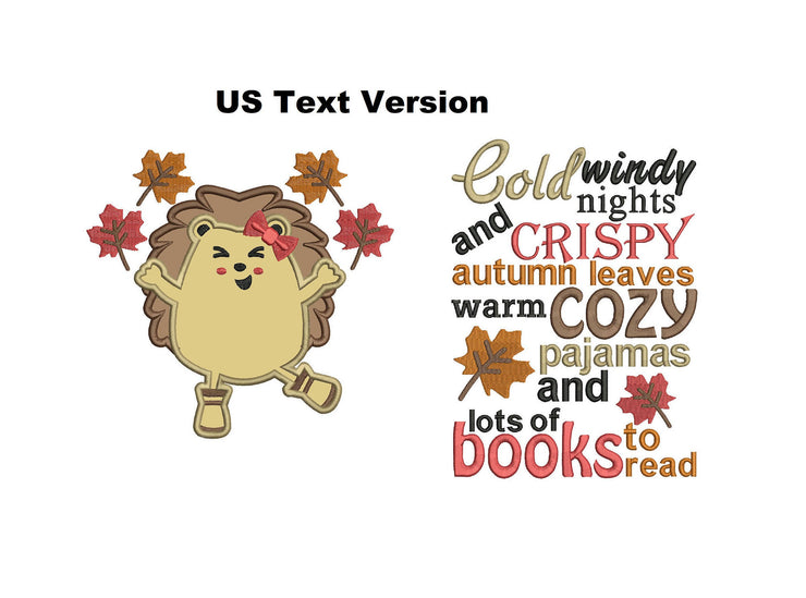 US VERSION hedgehog autumn winter reading cushion book pocket pillow embroidery machine design file image and quote 4 sizes included