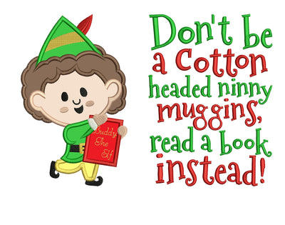 elf christmas reading cushion book pocket pillow embroidery machine design file applique and quote 3 sizes included instant download