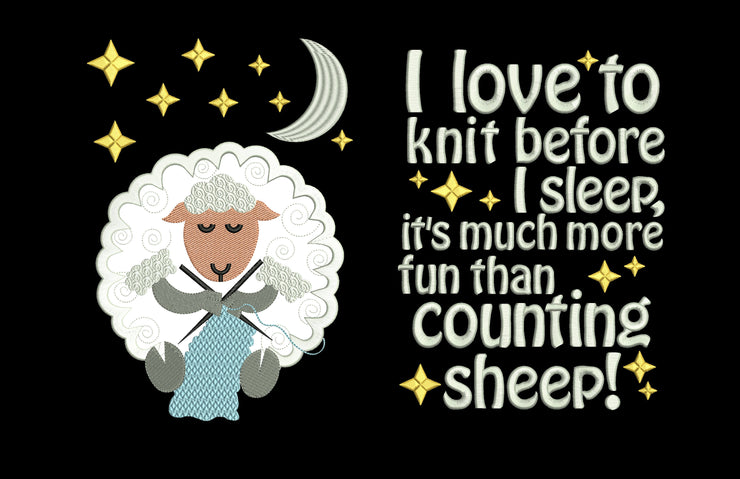 bedtime knitting sheep reading cushion book pocket pillow embroidery machine design file applique & quote 3 sizes included instant download
