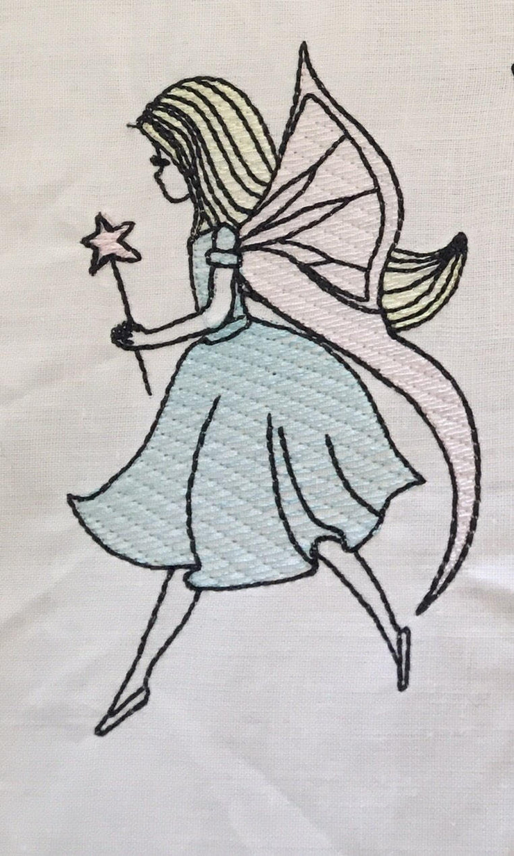 fairy sketch quick stitch sheer filled embroidery machine design file 3 sizes
