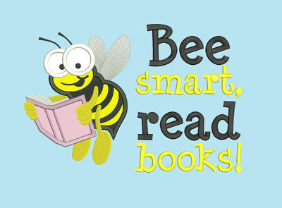 bee smart reading cushion book pocket pillow embroidery machine design file applique and quote 3 sizes included instant download