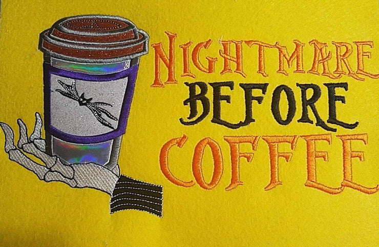 nightmare before christmas inspired adult coffee machine embroidery design file ideal for reading book pocket pillow or t shirt