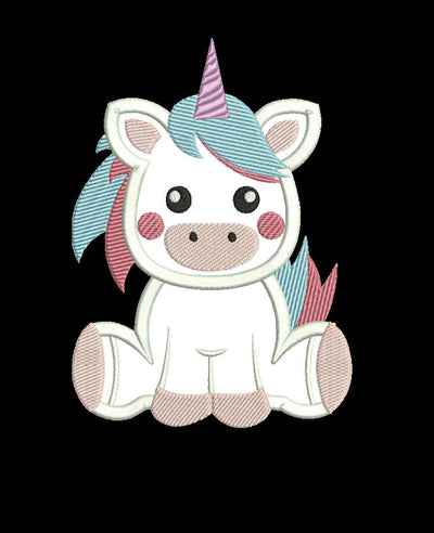 baby unicorn applique embroidery machine design file 3 sizes 2