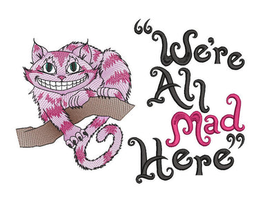 Alice In Wonderland cheshire cat reading cushion book pocket pillow embroidery machine design 3 sizes included