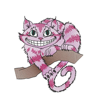 Alice in wonderland cheshire cat sketch embroidery machine design file digital download three sizes included in all formats