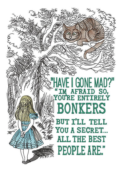 Alice in wonderland sketch embroidery machine design file digital download 3 sizes included in all formats