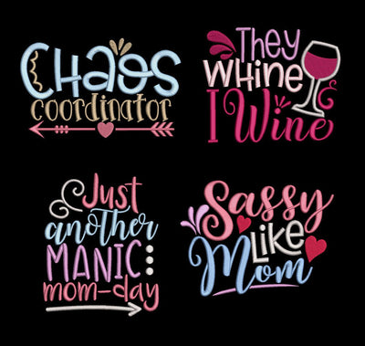 funny mom quote bundle 4 design pack t shirt towel reading cushion book pocket pillow embroidery machine design mothers day mum mom