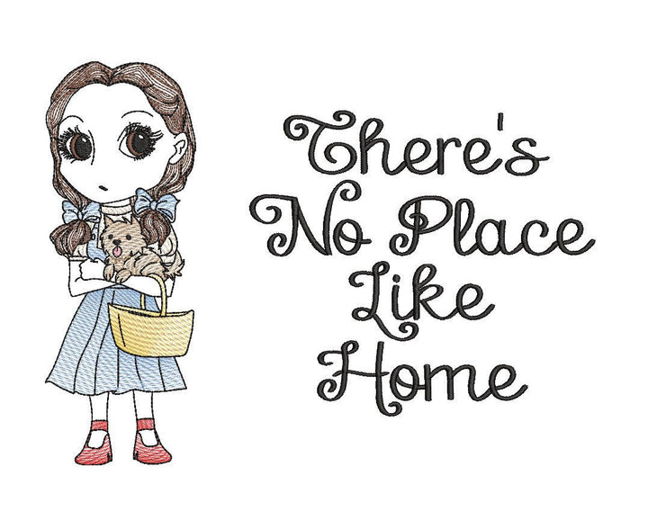 wizard of oz Dorothy toto reading cushion book pocket pillow embroidery machine design 2 text styles 3 sizes included