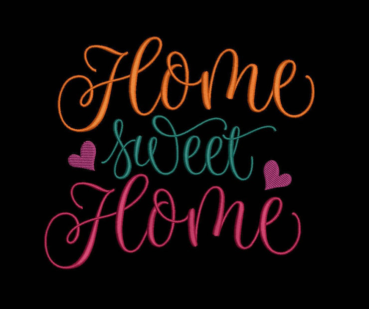 home sweet home embroidery machine design file image and quote 3 sizes instant download great for tea towel or reading pillow