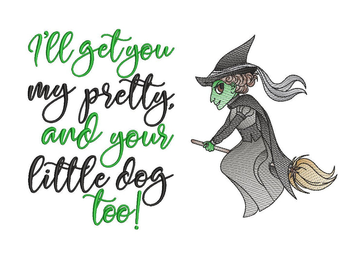 wizard of oz wicked witch of the west Elphaba reading cushion book pocket pillow embroidery machine design sketch and text 3 sizes included